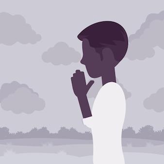 Mann, der in namaste-handgeste betet