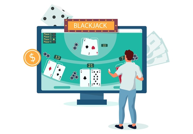 Mann, der internet-blackjack-spiel mit laptop-computer, flache vektorillustration spielt. online-casino-glücksspiel. entertainment. casino-geschäft.