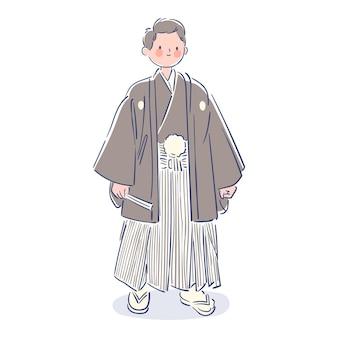 Mann, der japanisches montsuki trägt