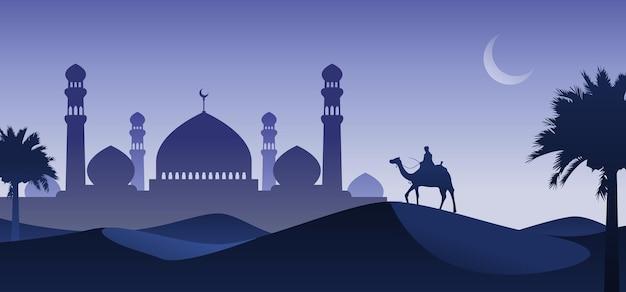 Mann, der kamel in der wüstennacht mit moschee und halbmond, arabische wüstenlandschaftsnachtansicht reitet.