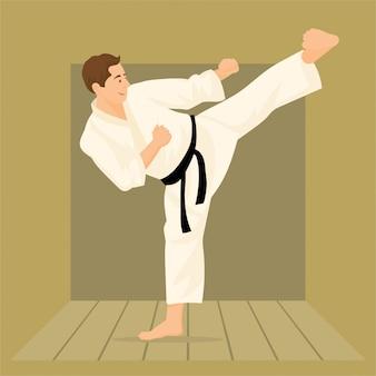 Mann, der karate mit kimono und schwarzem gürtel trainiert