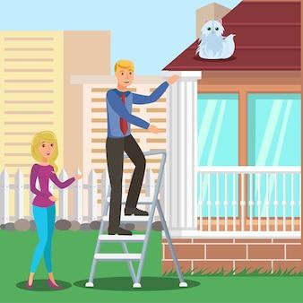 Mann, der katze vom dach rettet