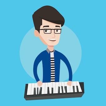 Mann, der klavierillustration spielt.