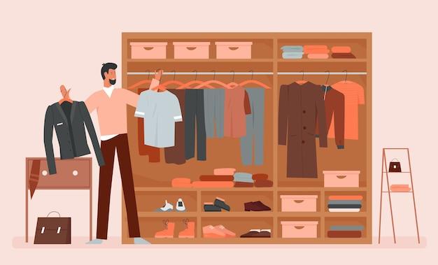 Mann, der kleidung im garderobenraum der karikaturkleidung wählt