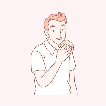 Mann, der köstlichen donut in der linienkunst isst