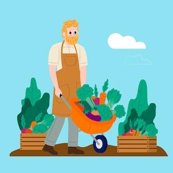 Mann, der konzept der biologischen landwirtschaft veranschaulicht
