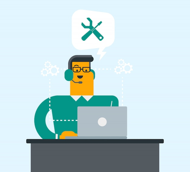 Mann, der kopfhörer und laptop in call-center verwendet.