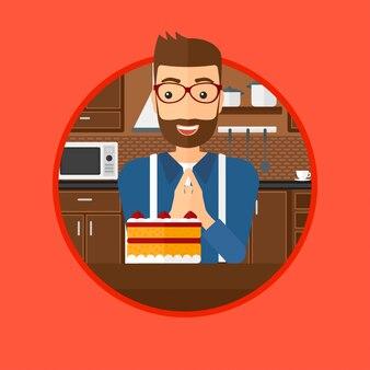 Mann, der kuchen mit versuchung betrachtet.
