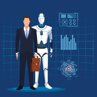 Mann der künstlichen intelligenz mit koffer und cyborg