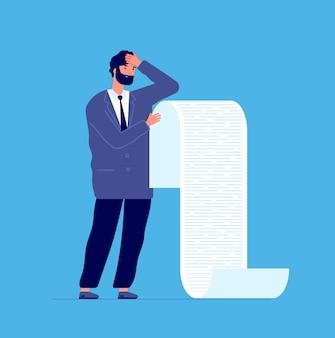 Mann, der lange liste hält geschäftsmannschuldenrolle, manager, der berichtende bank oder anwalt liest. mann mit konkurspapierbrief-vektorkonzept. geschäftsmann mit papierholding-berichtsillustration