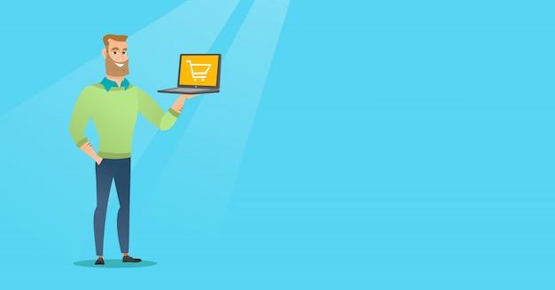 Mann, der laptop mit laufkatze auf einem schirm hält.