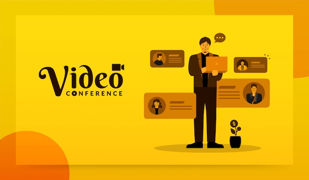 Mann, der laptop zu videokonferenzen mit seinem team, online-besprechungskonzept verwendet