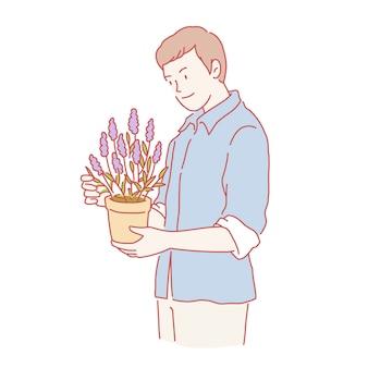 Mann, der lavendelpflanze im linienstil hält