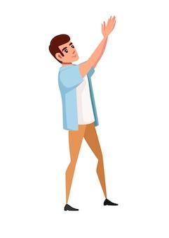 Mann, der legere kleidung mit erhobenen händen trägt, klatscht cartoon-charakter-design-vektor-illustration