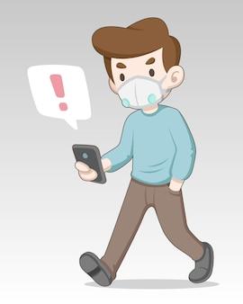 Mann, der maske trägt, erhält alarmbenachrichtigung von der mobilen illustration