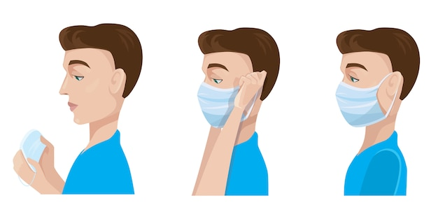 Mann, der medizinische maske aufsetzt. illustrationen im karikaturstil isoliert