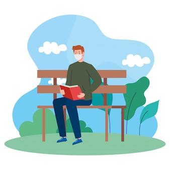 Mann, der medizinische maske liest, die ein buch liest, im parkstuhl sitzt, verhinderung coronavirus covid 19