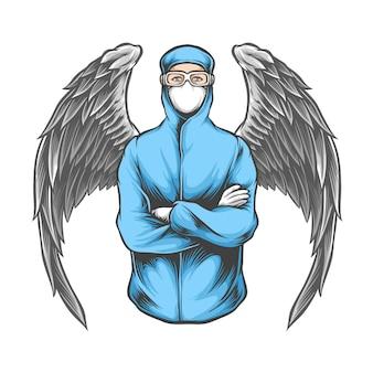 Mann, der medizinische maskenillustration trägt