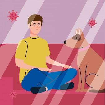 Mann, der medizinische schutzmaske gegen covid 19 sitzt, der mit dem haustier des hundes sitzt