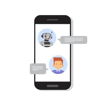 Mann, der mit chat-bot auf intelligentem mobiltelefon spricht