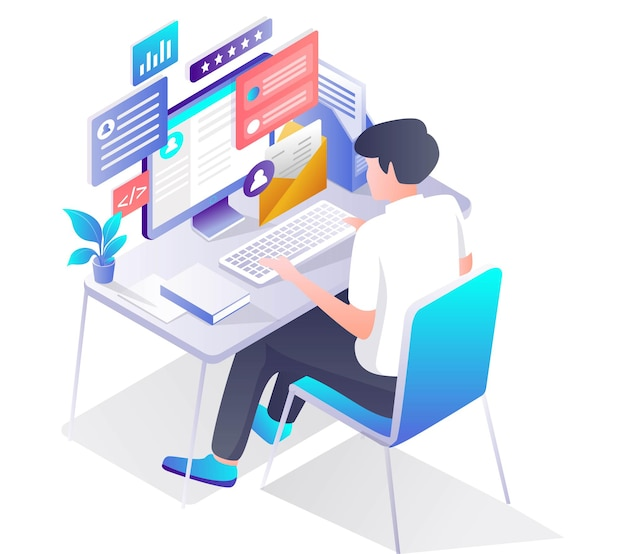 Mann, der mit computer am schreibtisch arbeitet
