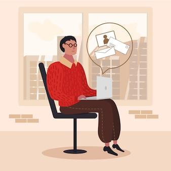 Mann, der mit dem laptop überprüft e-mail-karikatur sitzt