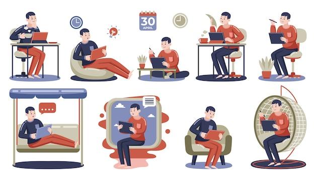 Mann, der mit digitalem tablett zu hause arbeitet