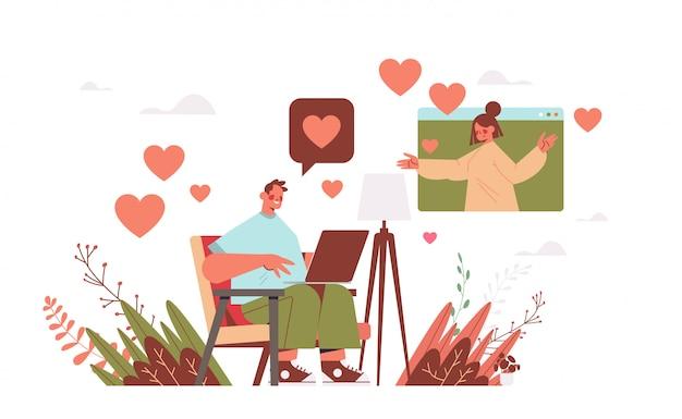 Mann, der mit frau im online-dating-app-paar plaudert, das während der virtuellen darstellung des kommunikationskonzepts der sozialen beziehung des virtuellen treffens diskutiert