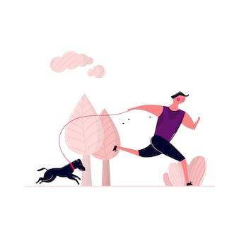 Mann, der mit hund auf straße im park im freien läuft. verschwitzter mann, der am morgen mit hündchen an der leine geht. rüttelndes manntraining im freien mit haushaustier-gesundheitsbetrieb.