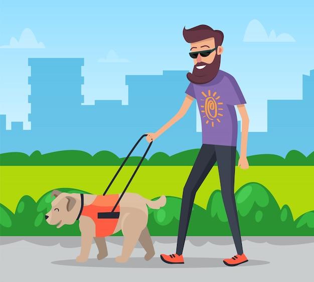 Mann, der mit hund im stadtpark geht