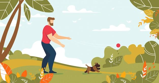 Mann, der mit hund in der wald- oder park-karikatur spielt