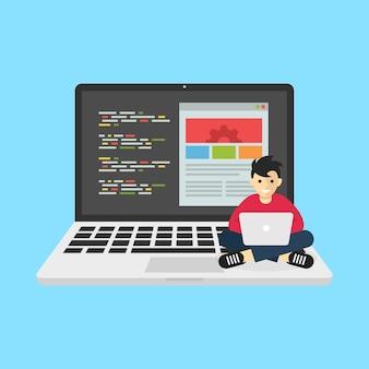 Mann, der mit laptop arbeitet, repräsentiert den geschäftsaspekt des programmierers der informationstechnologie-website