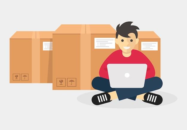 Mann, der mit laptop arbeitet, repräsentiert logistik- und versandtransportgeschäft