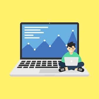 Mann, der mit laptop arbeitet, stellt analytische und statistische infografik des wachstumsgeschäftsaspekts dar