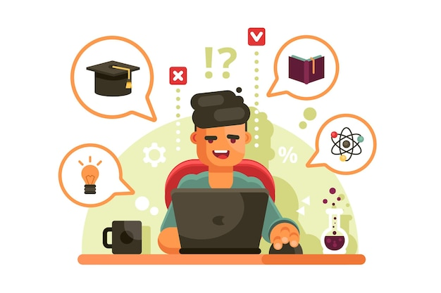 Mann, der mit laptop studiert. online-bildungskonzept