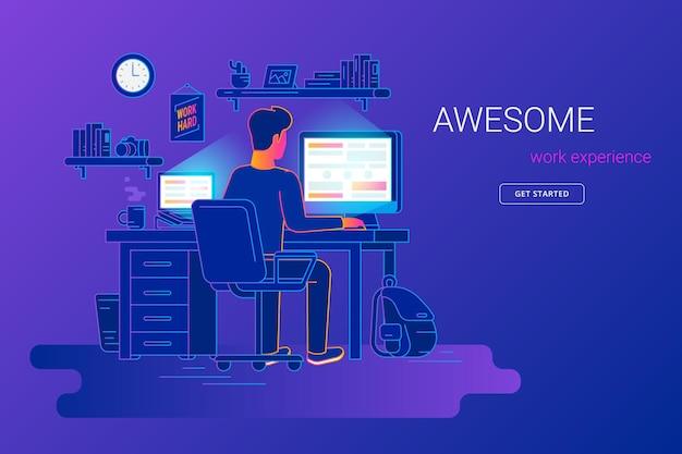 Mann, der mit pc an seinem schreibtisch arbeitet und ui ux testet junger mann, der mit computer und laptop arbeitet