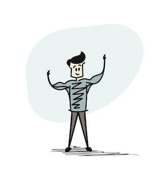 Mann, der mit schatten der starken muskulösen männerphysik posiert. bodybuilder, gesunder sport. hand gezeichneter skech-karikatur-vektor-hintergrund.