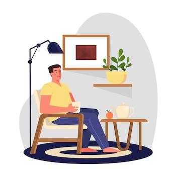 Mann, der morgens frühstückt. erwachsener männlicher charakter, der im sessel sitzt und tee trinkt.