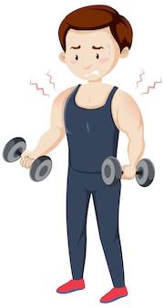 Mann, der muskelschmerzen vom training hat