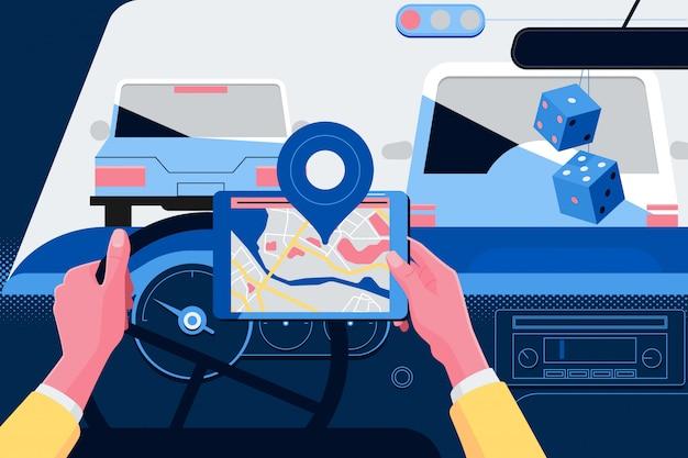 Mann, der navigationssystem beim autofahren verwendet