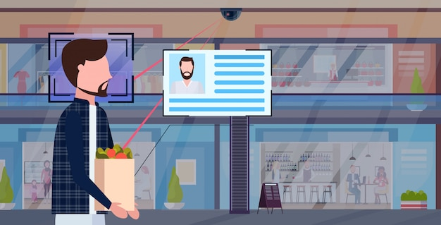 Mann, der papiertüte mit lebensmittelidentifikation gesichtserkennungskonzept überwachungskameraüberwachung cctv-system einkaufszentrum innen horizontales porträt trägt