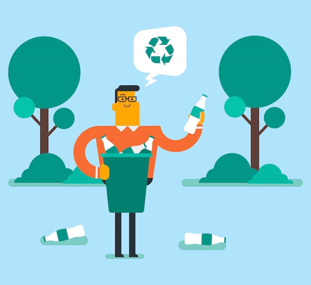 Mann, der plastikflasche in einem papierkorb aufhebt.