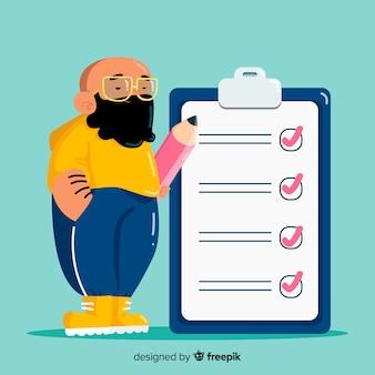 Mann, der riesige checkliste überprüft