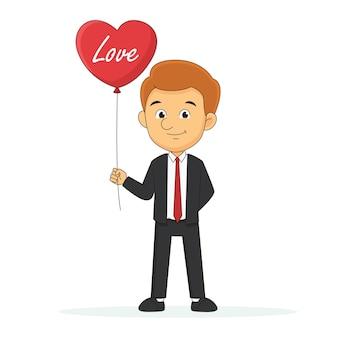 Mann, der roten ballon mit glücklichem valentinstag hält