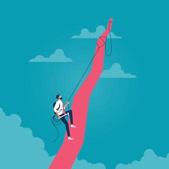 Mann, der roten pfeil in den wolken klettert, die das konzept des strebens darstellen