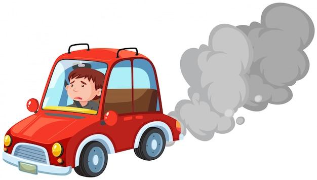 Mann, der rotes auto fährt