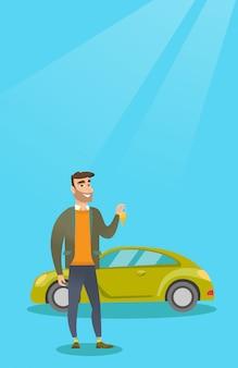 Mann, der schlüssel zu seinem neuwagen hält.