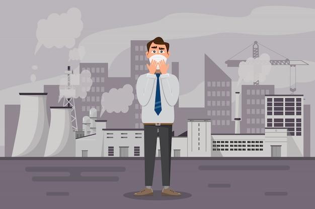 Mann, der schützende gesichtsmaske gegen smog trägt
