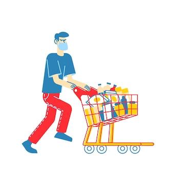 Mann, der schützende gesichtsmaske trägt, die einkaufswagen voller verschiedener waren für weltuntergang schiebt. panik im supermarkt, pandemisches chaos, männlicher charakter bereite dich auf die apokalypse vor. linear