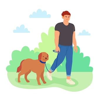 Mann, der seinen hund geht